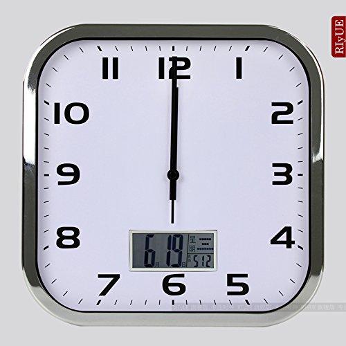 - Y-Hui The 12-Inch Square Wave Wall Clock Art Silent Living Room Light Wave Clock Calendar E-Clock Smart 12-Inch (30.5 Cm Diameter), Chrome Plated