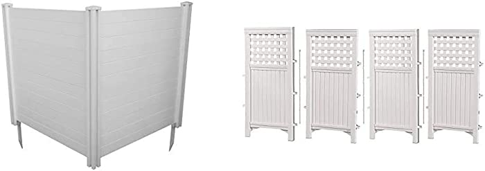 """Zippity Outdoor Products Premium Vinyl Privacy Screen, 48"""" W x 48"""" H (Unassembled) & Suncast 4 Enclosure Freestanding Steel Resin Reversible Panel Outdoor Screen TRE, 4 panles (Pack of 1), White"""