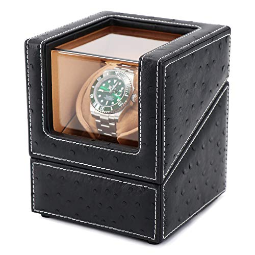 Driklux Automatic Single Watch Winder Case for Rolex with Quiet Motor,Premium Ostrich Leather Exterior and Soft Flexible Watch Pillows(Black+Camel Velvet) (Heiden Watch Box)