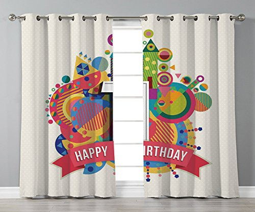 Thermal Insulated Blackout Grommet Window Curtains,1st Birthday Decorations,Fairytale Party Themed Stripes Circles with Geometrical Details,Multicolor,2 Panel Set Window Drapes,for Living Room -
