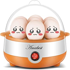 Amabest New Egg Cooker - 7 Egg Capacity Electric Egg Cooker with an Egg Slicer for Hard Boiled Egg, Poached Egg, Scrambled Egg, Salad with Egg, Nutrition Egg with Auto Shut Off Feature