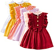Shan-S 2-7 Years Olds Toddler Kids Baby Girls Lace Sleeveless Button Cute Bowknot Solid Princess Dress