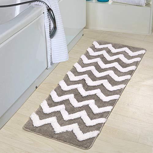 - Uphome Shaggy Chevron Bath Mat, Non-Slip Microfiber Grey Striped Bathroom Rug Soft Decorative Doormat Kitchen Mat, 19