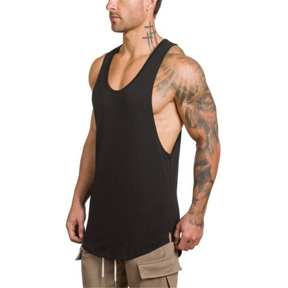 Pitauce Tank Tops for Men Sleeveless Tee Shirts for Men Men's Muscle Gym Workout Tank Tops Bodybuilding T-Shirts Black