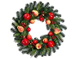 Silk Plants Direct Berry, Pear, Apple and Cedar Wreath (Pack of 1)