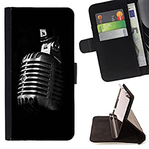 DEVIL CASE - FOR HTC One M8 - Microphone Retro Microphone - Style PU Leather Case Wallet Flip Stand Flap Closure Cover
