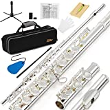 Eastar EFL-2 Open/Close Hole C Flutes 16 Keys Silver Plated Beginner Flute Set with Fingering Chart Hard Case Cleaning Rod Cloth and Flute Swab Screwdriver and Gloves