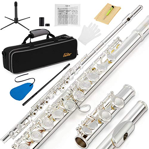 Eastar EFL-2 Open/Close Hole C Flutes 16 Keys Silver Plated Beginner Flute Set with Fingering Chart, Hard Case, Cleaning Rod, Cloth, Flute Swab, Screwdriver and Gloves