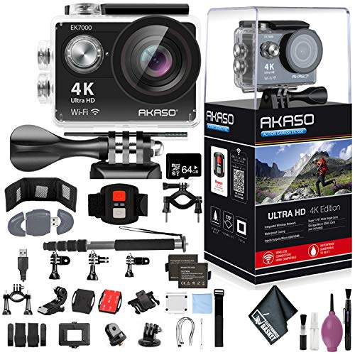 AKASO EK7000 4K WiFi Sports Action Camera Ultra HD Waterproof DV Camcorder 12MP 170 Degree Wide Angle - 64GB - Memory Card Wallet & Reader - Action Camera Bike Handlebar/SEATPOST KIT - Monopod 70