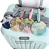 King&Pig 4pcs World Map Luggage Tags Suitcase Luggage Tags Travel Accessories Baggage Name Tags...