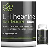 Suntheanine L-Theanine 150mg, 60 Tiny Capsules to Support Anxiety Relief, Stress Relief, Sleep Better, Thyroid Support, Adrenal Support, 1 Year Money Back Guarantee