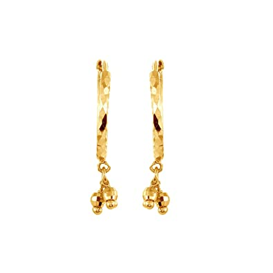 Buy Velvetcase 22k 916 BIS Hallmark Yellow Gold Hoop Earrings