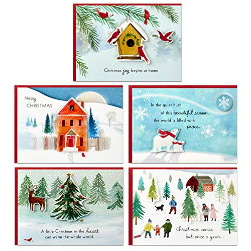 Hallmark Paper Wonder Pop Up Christmas Cards Assortment (5 Cards with Envelopes)