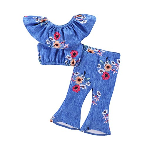 1-6Y Girl Off Shoulder Ruffle Tops + Flare Pants Fashion Floral Clothes Set - Kids Flare