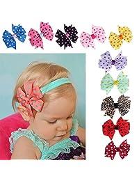 Tenworld 10PC Babys Headband Elastic Wave Point Bowknot Hairband Photography
