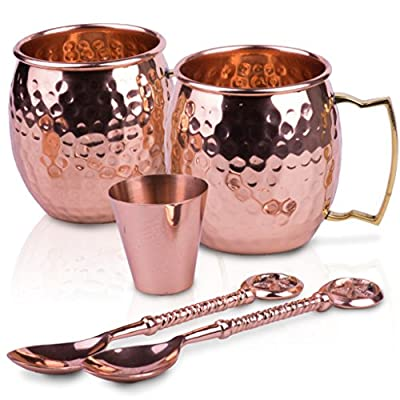Gorgeous Moscow Mule Copper Mugs: The Perfect Gift for Classy People! 100% Classic Copper Engraved Set Including 2 Mugs, BONUS Shot Cup & 2 Decorated Spoons. For Cold Drinks, Cocktails, Iced Coffee