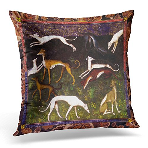 TORASS Throw Pillow Cover Animal Medieval Greyhound Dogs on Lover Decorative Pillow Case Home Decor Square 18x18 Inches Pillowcase