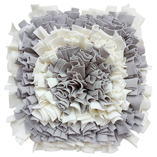 Lemonda Pet Dog Snuffle Mat Training Feeding Mat Nosework for Dogs Activity Fun Play Mat for Relieve Stress Restlessness 19″x 19″ (Grey/White) For Sale