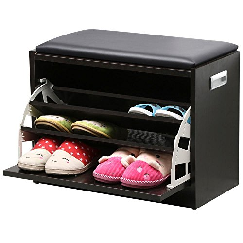 Topeakmart MDF Shoe Bench Storage Ottoman Stand Unit Drawer Seat Storage Rack Multipurpose Cabinet