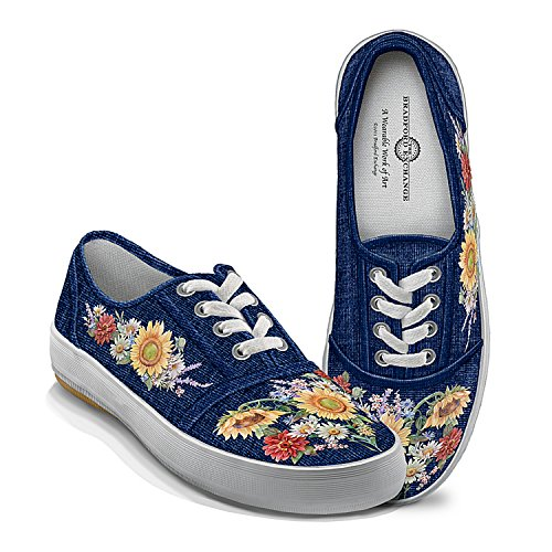 Lena Liu Garden Of Sunshine Floral Art Canvas Shoes: 9.5 by The Bradford Exchange