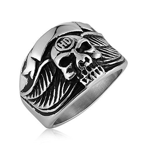teel Vintage Silver Black Feather Wing Men Skull Rings Size 11 ()