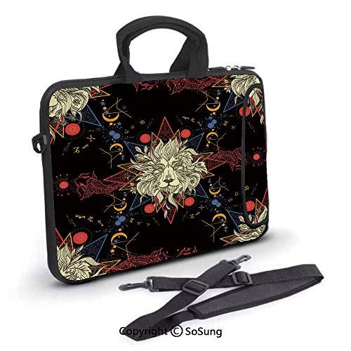 Medieval Lion Symbol (17 inch Laptop Case,Medieval Mystic Lion Astrological Symbols of Zodiac Antique Style Decorative Neoprene Laptop Shoulder Bag Sleeve Case with Handle and Carrying & External Side Pocket,for)