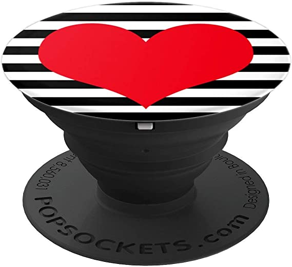 PopSockets PopGrip White Heart Black Swappable Grip for Phones /& Tablets