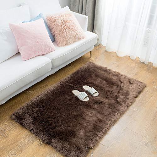 Sobibo Luxury Soft Faux Sheepskin Fur Area Rugs, Rugs Floor Mat Carpet for Living Room Bedroom Home Decor (Coffee)