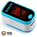 Fingertip Pulse Oximeter Portable Digital Blood Oxygen and Pulse Sensor with Alarm SPO2 For Adults and Children (Blue)