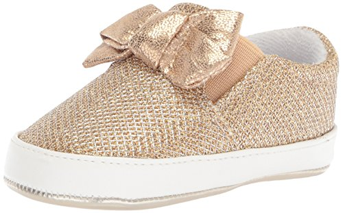 Nine West Girls' ODETTACRIB Crib Shoe, Gold/Metallic mesh, 4 Medium US Infant ()
