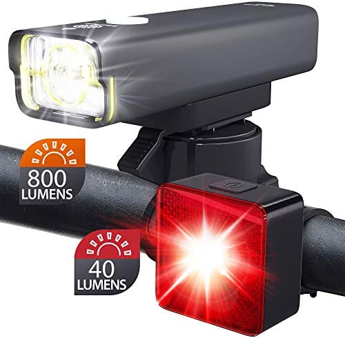 BrightRoad Front and Back LED Lights for Bikes 800 Lumens Headlight with 650 ft. Visibility Reflective 40 Lumens Smart Tail Light with 220 Visibility Waterproof Bike Light Set, BR-800 BR-SB40