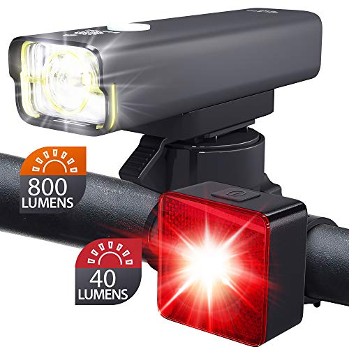 BrightRoad Front and Back LED Lights for Bikes - 800 Lumens Headlight with 650 ft. Visibility - Reflective 40 Lumens Smart Tail Light with 220° Visibility - Waterproof Bike Light Set, BR-800 + BR-SB40
