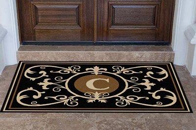 Edinburgh Estate Doormat - Monogrammed Black & Suede C 4 X (Black Suede Mat)
