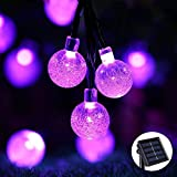 Crystal String Lights, DINOWIN Outdoor Solar String Lights 7M 50LED Solar Crystal String Lights Waterproof with 2 Lighting Mode for Christmas, Home, Garden, Indoor Outdoor Decoration (Purple)