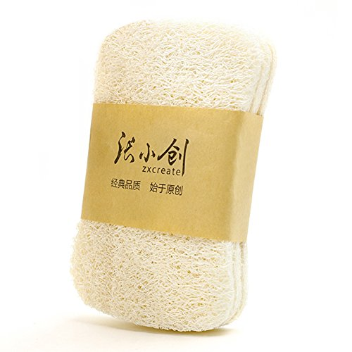 HaloVa Natural Loofah Sponge Scrubber,Portable Household Kitchen Cleaning Scouring, Oil-Free Pad Brush Cloth, Square, 3 pcs