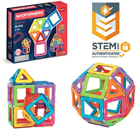 Magformers Basic Set (30 pieces) magnetic building blocks educational magnetic tiles magnetic building STEM toy - 63076