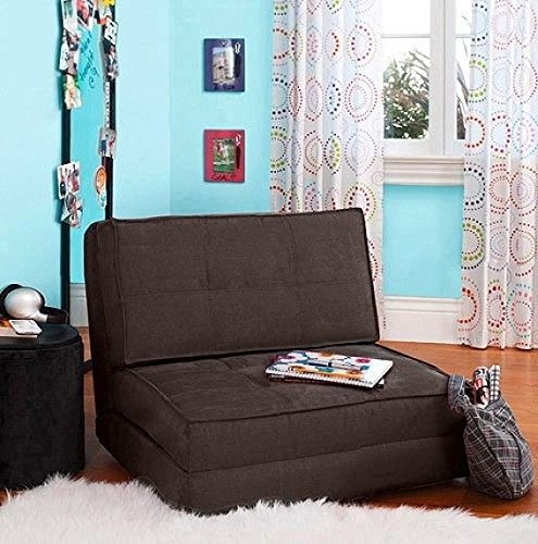 your zone flip chair convertible sleeper dorm bed couch lounger sofa multi color new brown
