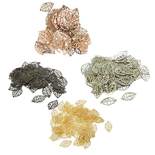 MonkeyJack 400 Pieces Mixed Alloy Metal hollow Leaf Charm Pendants For Jewelry -