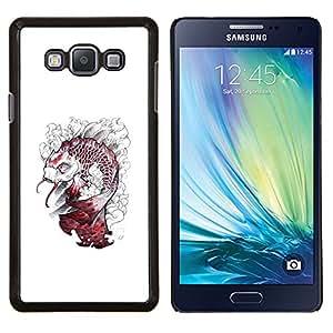 KLONGSHOP // Cubierta de piel con cierre a presión Shell trasero duro de goma Protección Caso - Kraken Pescado Blanco Monster - Samsung Galaxy A7 A7000 //