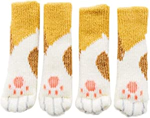 mysticall 8pcs Chair Leg Socks Floor Protector Cute Cat Paws Wool Knitting Furniture Foot Caps Table Feet Covers for Anti Scratch 123.51cm Regular