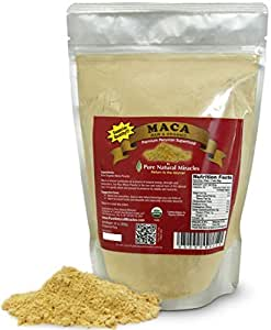Pure Natural Miracles Raw Organic Maca Root Powder Superior Grade AAA+, 1 Lb