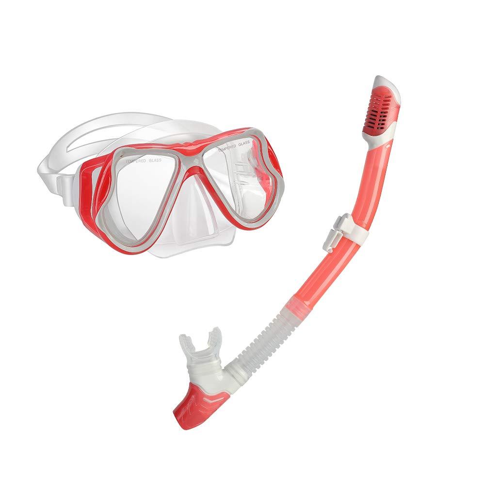 yiikii Snorkel Set for Adults Anti-Fog Anti-Leak Panoramic View Free Breathing Dry Top Snorkel Set with Travel Bag (Pink)