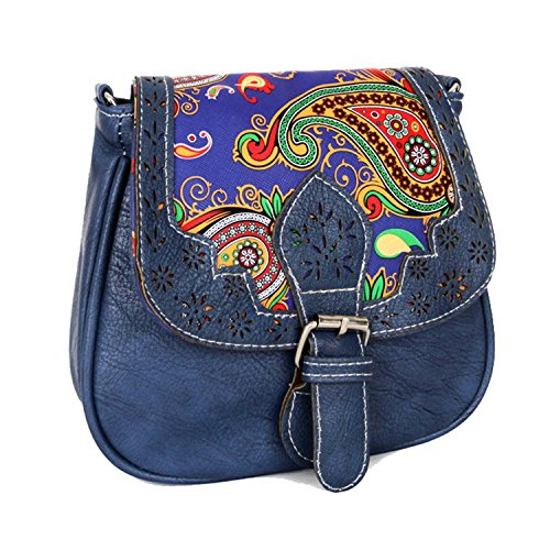 Christmas Handmade Sale Women Handicrafts Cyber Clearance Body Shoulder for Bag Vintage Bag Gifts Cross Saddle Women's Blue Black Style Leather Genuine Vintage Monday Deals Week Purse qwTTCHI