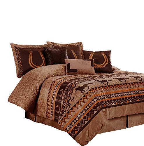 Chezmoi Collection Sedona By 7-piece Southwestern Wild Horses Microsuede Bedding Comforter Set (Queen) - Set Bedding Sedona