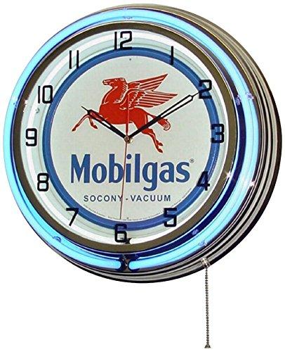 Mobil One Mobilgas Flying Pegasus 18  Dual Neon Light Wall Clock Gasoline Gas Fuel Pump Oil Sign Blue