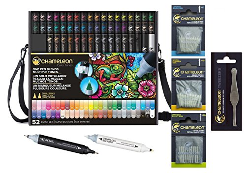 Chameleon Deluxe Bundle 52-Pen Set with Case, Extra Blender, Extra Detail Pen, Tweezers, Replacement Mixing Nibs 10/Pkg, Replacement Bullet Nibs 10/Pkg, Replacement Brush Nibs 10/Pkg by Chameleon