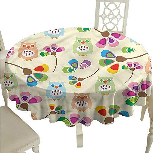 Burgundy 8 Pool Table Oversize (ScottDecor Jacquard Tablecloth Cartoon,Owls Flowers Kids Room Tassel Tablecloth Round Tablecloth D 36