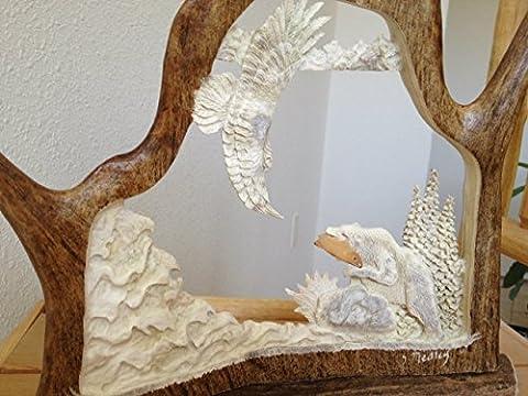 Fishing Bear Antler Carving - Antler Carving