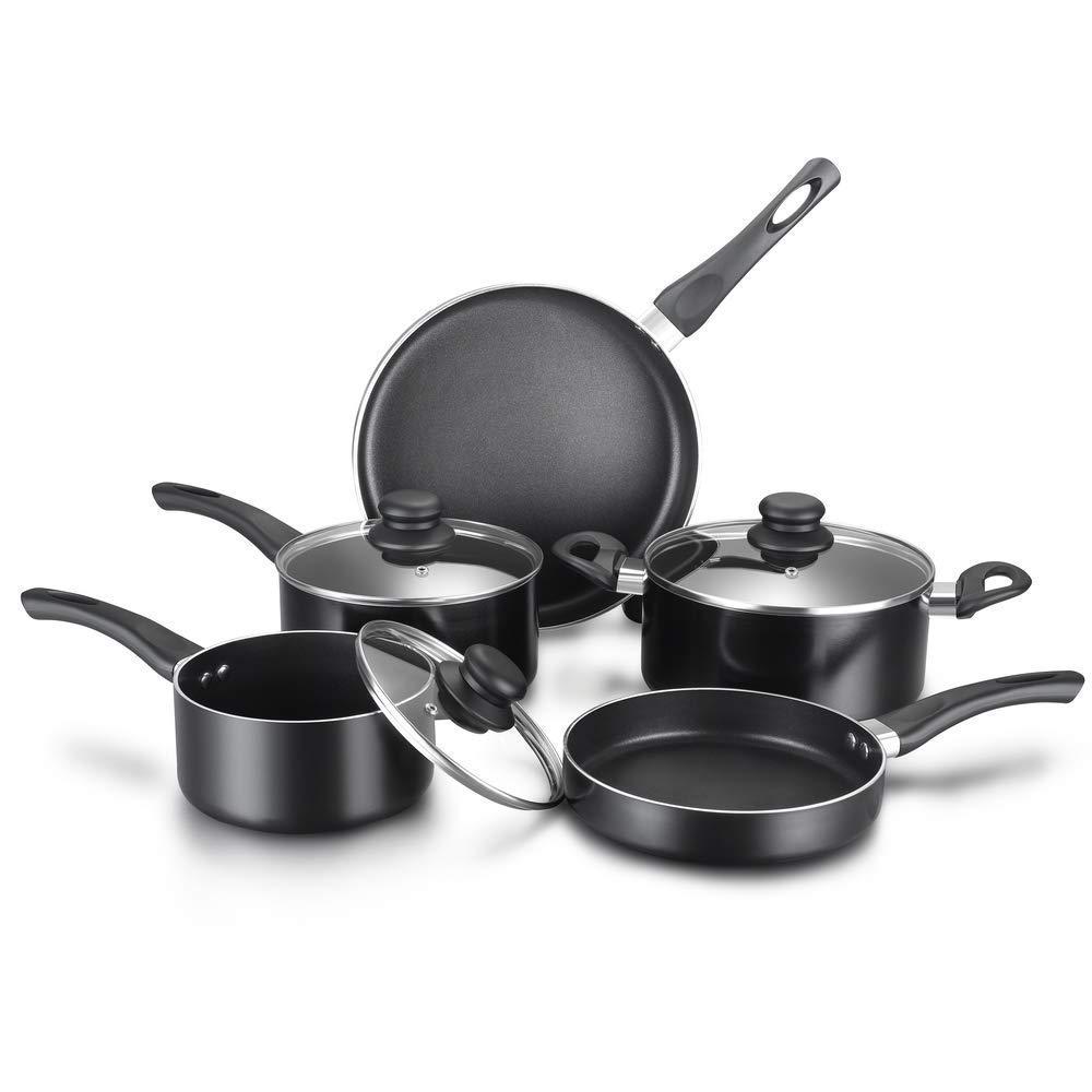 Classic 8-Piece Non-stick Cookware Set, Pots and Pans (Black), 2 Saucepans with Glass Lids, 1 Dutch Oven with Glass Lid, 2 Fry Pans