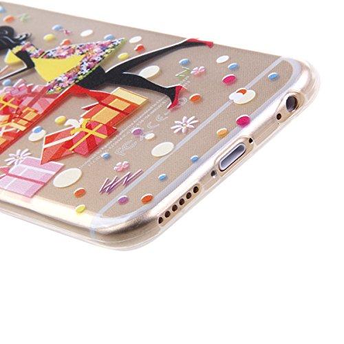 Ekakashop Apple iphone 6/6s (4.7 Zoll) Weiche Silikon TPU Gel Hüllen, Neueste Bunte schöne Schutzhülle Schale Durchsichtig mit Rosa Blume Schmetterling Mädchen-Serie Muster Backcover Rückseite Fall fü
